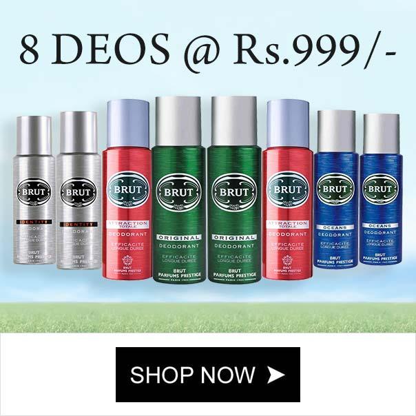 Brut Value Pack Of 8 Strong Deodorants For Men