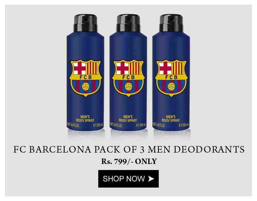 Football Club Barcelona Pack of 3 Men Deodorants