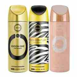Armaf Edition One, Skin Couture, Vanity Femme Essence Pack of 3 Deodorants