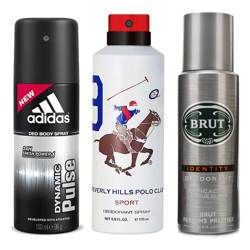 DeoBazaar Value Pack Of 3 Deodorant Sprays - Adidas Dynamic Pulse, BHPC Sport No 9 And Brut Identity