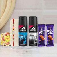 Adidas Dynamic Pulse Deo Ice Dive Deo, 2 Cadbury Dairy Milk, 2 Rakhi Combo