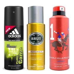 DeoBazaar Value Pack Of 3 Deodorant Sprays - Adidas Pure Game And BHPC Sport No 1 And Brut Instinct