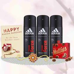 Adidas Team Force 3 Deos, Cadbury Nutties, Greeting Card, Rakhi Teeka Combo