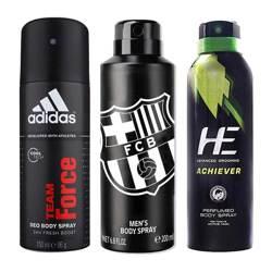 DeoBazaar Value Pack Of 3 Deodorant Sprays - Adidas Team Force, Football Club Barcelona Black And He Be Interesting Achi