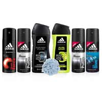 Adidas 2 Dynamic Pulse, 1 Ice Dive, 1 Team Force Deodorants, Dynamic Pulse. Pure Game Shower Gel And Loofah