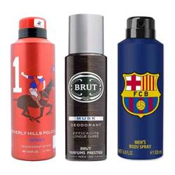 DeoBazaar Value Pack Of 3 Deodorant Sprays - BHPC Sport No 1, Brut Musk And Football Club Barcelona Original