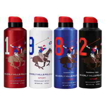 Beverly Hills Polo Club 1982 Sports Value Pack of 4 Deodorant Sprays