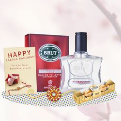 Brut Attraction Totale Perfume, Ferrero Rocher, Greeting Card, Rakhi Teeka Combo