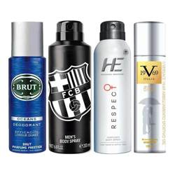 Brut Ocean, FCB Black, He Respect, Versace 1969 Entice Pack of 4 Deodorant Sprays