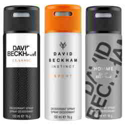 David Beckham Classic Instinct Sport And Homme Pack Of 3 Deodorants