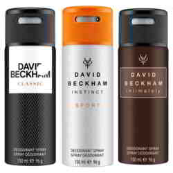 David Beckham Classic Instinct Sport And Intimately Pack Of 3 Deodorants