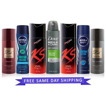 Value Pack of 7 Strong Deodorants - 2 KS spark, Nivea fresh Active, Nivea Oceans, Dove Extra Fresh, Sunny Leone Infinity