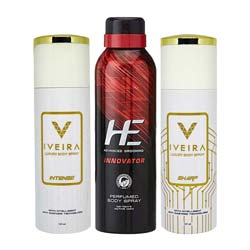 DeoBazaar Value Pack of 3 Long Lasting Deodorants - He Innovator, Iveira Sharp And Intense