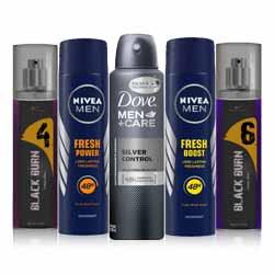 DeoBazaar Value Pack of 5 Deodorants -Dove Silver Protect, Nivea Charge, Nivea Boost, Black Burn No 4, Black Burn No 6