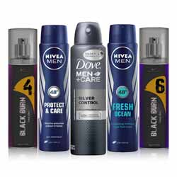 DeoBazaar Value Pack of 5 Deodorants -Dove Silver Protect, Nivea Protect And Care, Nivea Oceans, Black Burn No 4, Black