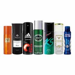 DeoBazaar Value Pack of 7 Deodorants - Adidas Team Force, KS Urge, Nivea Fresh Active, Versace Romance, Yardley Gentlema