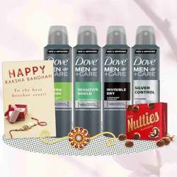Dove Extra Fresh, Sensitive Shield, Invisible Dry, Silver Control, Cadbury Nutties, Greeting Card, Rakhi Teeka Combo