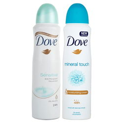 Dove Sensitive, Mineral Touch Pack of 2 Deodorant Sprays