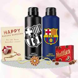 FC Barcelona Original, Black, Cadbury Nutties, Greeting Card, Rakhi Teeka Combo