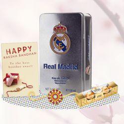 FC Real Madrid Perfume, Ferrero Rocher, Greeting Card, Rakhi Teeka Combo