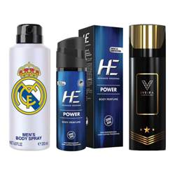 DeoBazaar Value Pack Of 3 Deodorant Sprays - Football Club Real Madrid White, Iveira Italiano Black And He Be Interestin