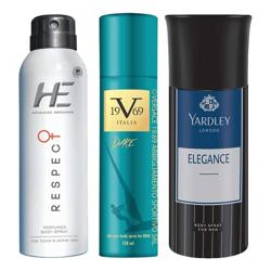 DeoBazaar Value Pack Of 3 Deodorant Sprays - He Respect, Versace 1969 Dare And Yardley London Elegance