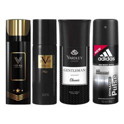 Iveira Italiano Black, Versace 1969 Nuit, Yardley London Gentleman, Adidas Dynamic Pulse Pack of 4 Deodorant Sprays
