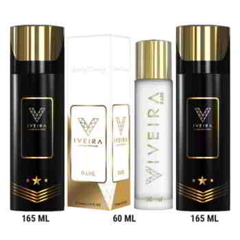 Iveira Italiano Combo Of Luxury Rare Perfume And 2 Black Deodorants Spray