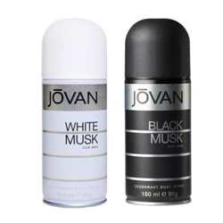 Jovan Black Musk, White Musk Pack of 2 Deodorants