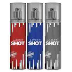 Layer'r Shot Deep Desire, Power Play, Red Stallion Pack of 3 Deodorants