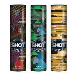 Layerr Shot Maxx Blaze, Flair, Flick Pack of 3 Perfume Body Sprays