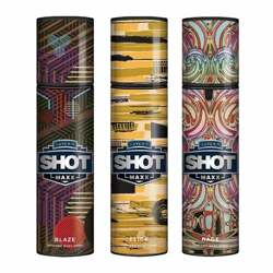 Layerr Shot Maxx Blaze, Flick, Rage Pack of 3 Perfume Body Sprays