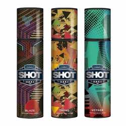 Layerr Shot Maxx Blaze, Trend, Voyage Pack of 3 Perfume Body Sprays