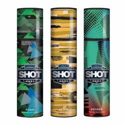 Layerr Shot Maxx Flair, Flick, Voyage Pack of 3 Perfume Body Sprays