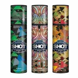 Layerr Shot Maxx Flair, Rage, Trend Pack of 3 Perfume Body Sprays