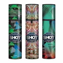 Layerr Shot Maxx Flair, Rage, Voyage Pack of 3 Perfume Body Sprays