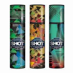 Layerr Shot Maxx Flair, Trend, Voyage Pack of 3 Perfume Body Sprays
