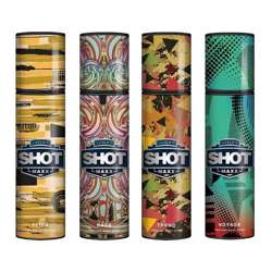 Layerr Shot Maxx Flick, Rage, Trend, Voyage Pack of 4 Perfume Body Sprays