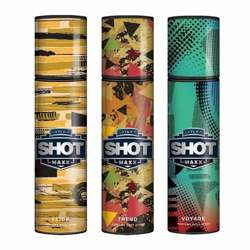 Layerr Shot Maxx Flick, Trend, Voyage Pack of 3 Perfume Body Sprays