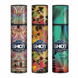 Layerr Shot Maxx Rage, Trend, Voyage Pack of 3 Perfume Body Sprays