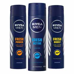 Nivea Fresh Power Boost, Fresh Power Charge, Fresh Active Pack of 3 Deodorants