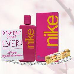 Nike Pink Perfume Rakhi Return Gift Hamper