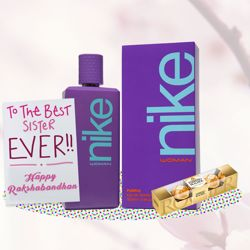 Nike Purple Perfume, Ferrero Rocher, Greeting Card Combo