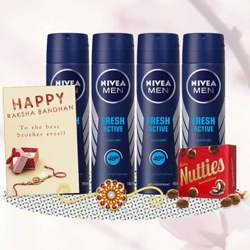 Nivea Fresh Active 4 Deos, Cadbury Nutties, Greeting Card, Rakhi Teeka Combo