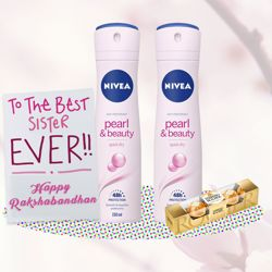 Nivea Pearl and Beauty 2 Deos, Ferrero Rocher, Greeting Card Combo