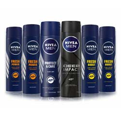 Nivea Variety Pack Of 6 Strong Deodorants - 1 Deep Impact, 1 Protect And Care, 2 Fresh Boost And 2 Fresh Charge