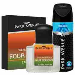 Park Avenue Combo of 4 Seasons Perfume, Cool Blue Deodorant For Men