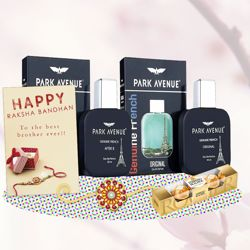 Park Avenue After 8, Original Perfume, Ferrero Rocher, Greeting Card, Rakhi Teeka Combo