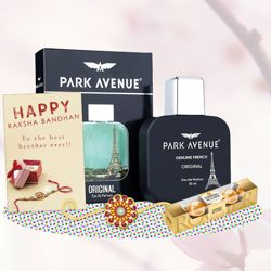 Park Avenue Original Perfume, Ferrero Rocher, Greeting Card, Rakhi Teeka Combo