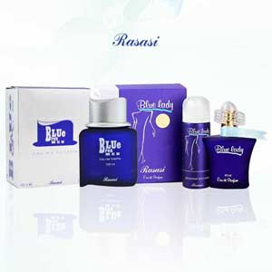 Rasasi Blue For Men And Blue Lady Pack of 2 Perfumes